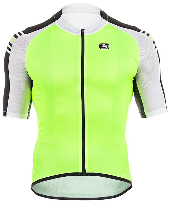 Giordana Sahara Short Sleeve Jersey - Yellow Fluo-White-Black - Classic Cycling
