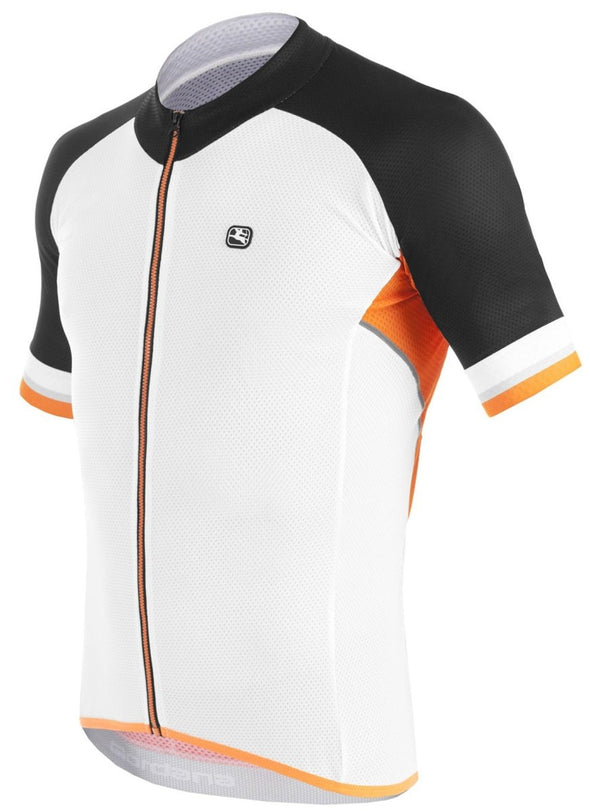 Giordana SilverLine Short Sleeve Jersey - White - Black - Orange - Classic Cycling
