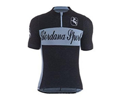 Giordana Sport Classic Performance Knitted Wool Short Jersey - Black-Blue - Classic Cycling