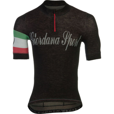 Giordana Sport Classic Performance Knitted Wool Short Jersey - Black-Italia - Classic Cycling