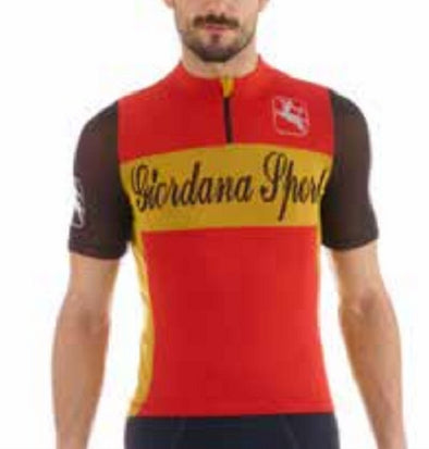 Giordana Sport Classic Performance Knitted Wool Short Jersey - Red-Yellow - Classic Cycling