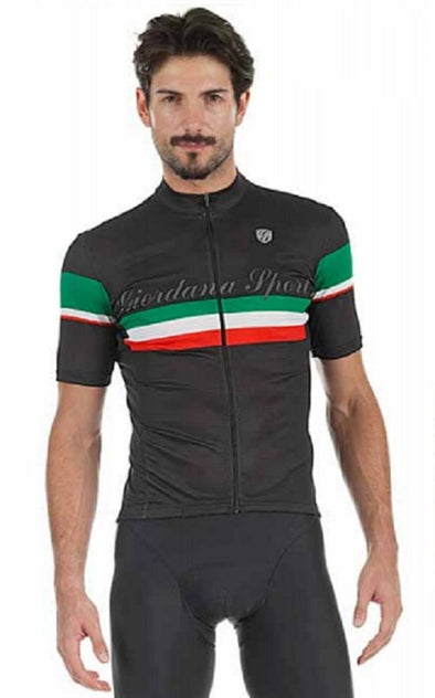 Giordana Sport Elite Short Sleeve Jersey - Black with Italia Stripe - Classic Cycling