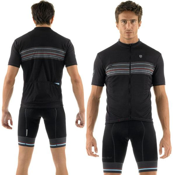 Giordana Sport Stripe Short Sleeve Jersey - Black-Blue - Classic Cycling