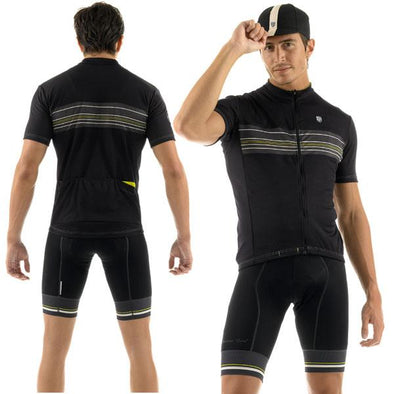 Giordana Sport Stripe Short Sleeve Jersey - Black-Yellow - Classic Cycling