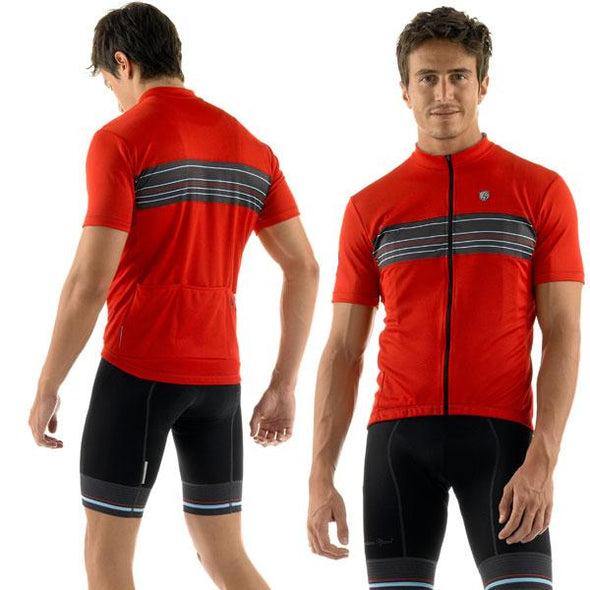 Giordana Sport Stripe Short Sleeve Jersey - Red - Classic Cycling