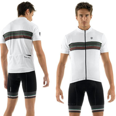 Giordana Sport Stripe Short Sleeve Jersey - White - Classic Cycling