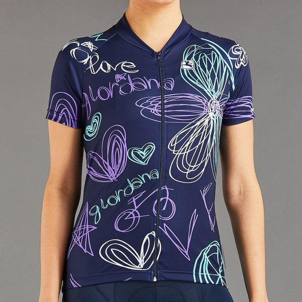 Giordana Women's Arts Love Cycling Jersey - Navy - Violet - Mint - White - Classic Cycling
