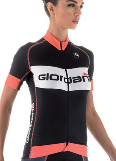 Giordana Womens Forma Red Carbon Trade Jersey - Fluo Orange - Classic Cycling