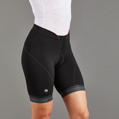 Giordana Women's Fusion Short - Black w- Pink accents & reflective leg band - Classic Cycling