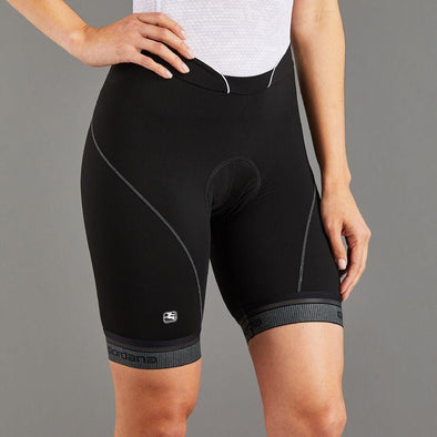 Giordana Women's Fusion Short - Black w- White accents & reflective leg band - Classic Cycling