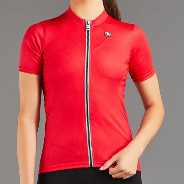 Giordana Women's Fusion Short Sleeve Jersey - Watermelon Red with Mint accents - Classic Cycling