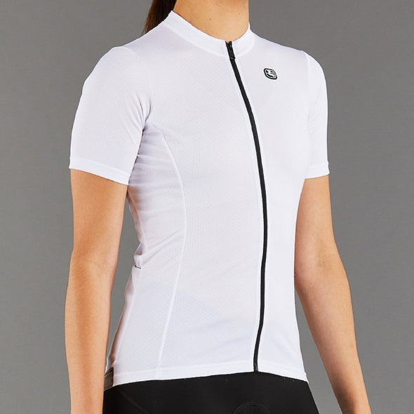 Giordana Women's Fusion Short Sleeve Jersey - White with Black accents - Classic Cycling