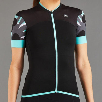 Giordana Women's Lungo Short Sleeve Jersey - Black with Mint-Grey Accents - Classic Cycling