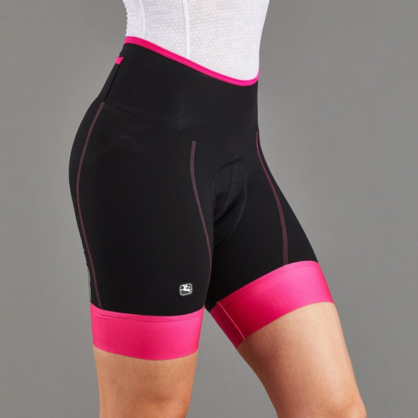Giordana Women's Lungo Shorts - Black with Fuchsia leg bands - Classic Cycling
