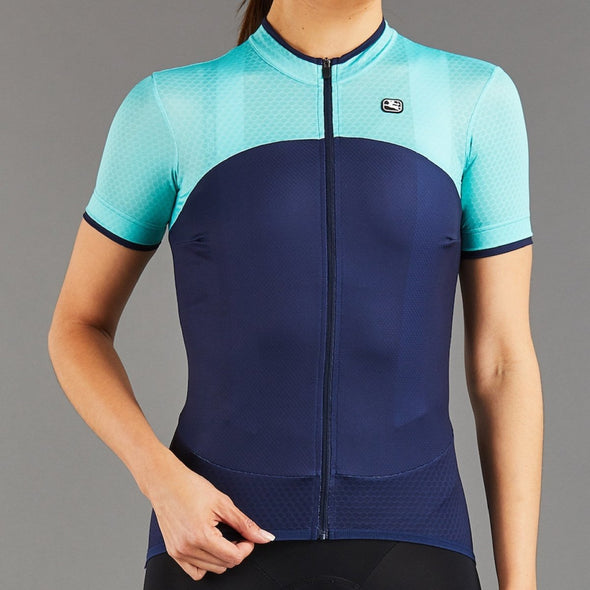 Giordana Women's SilverLine Short Sleeve Jersey - Navy-Mint - Classic Cycling