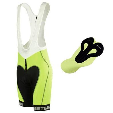 Nalini Team Fluo Bib Shorts w- Series 3D Carbon Pad Black - Lime - Classic Cycling