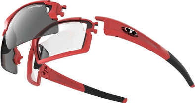 Tifosi Escalate F.H. Sun Glasses - Metallic Red w- Smoke, AC Red and Clear Lenses - Classic Cycling