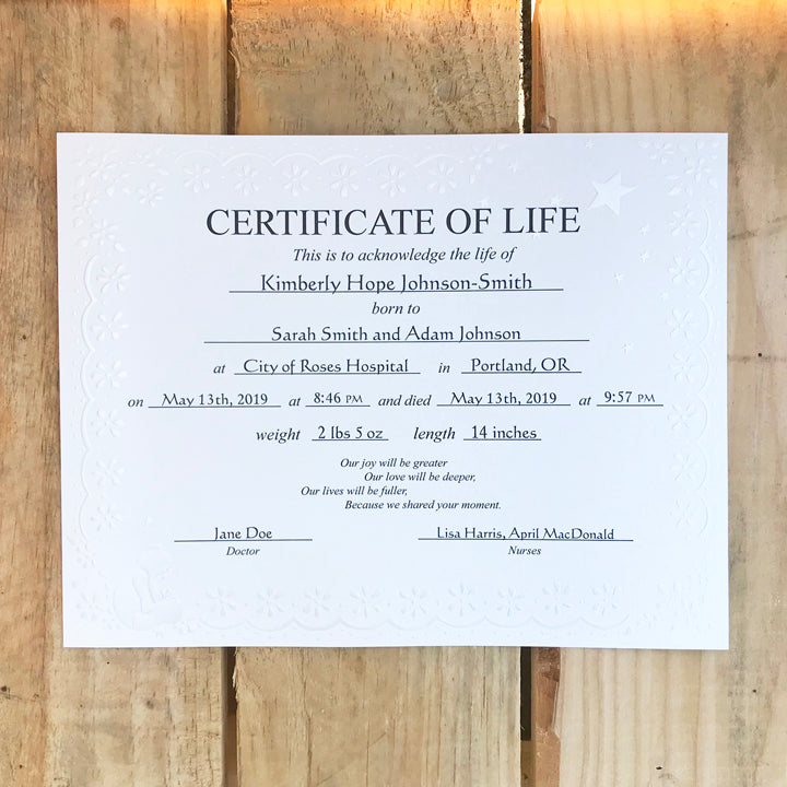 Personalized Neonatal Death Certificate of Life