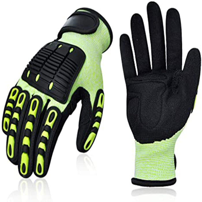 Heavy Duty Mechanic Work Gloves with Grip, Cut Resistant Rubber Coated for Metal Wood Working, Construction and Driving