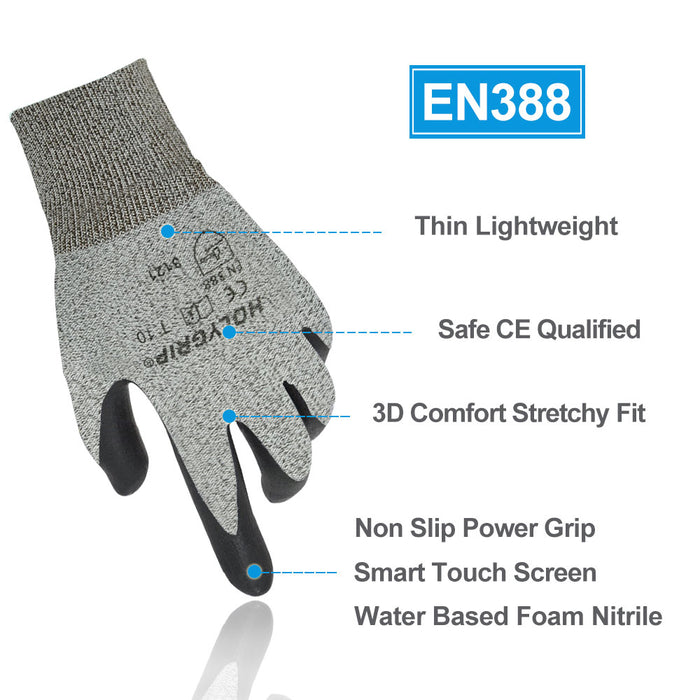 Nitrile Coated Work Gloves, Non Slip Power Grip, Smart Touch, Waterproof, Abrasion Resistant for Indoor or Outdoor
