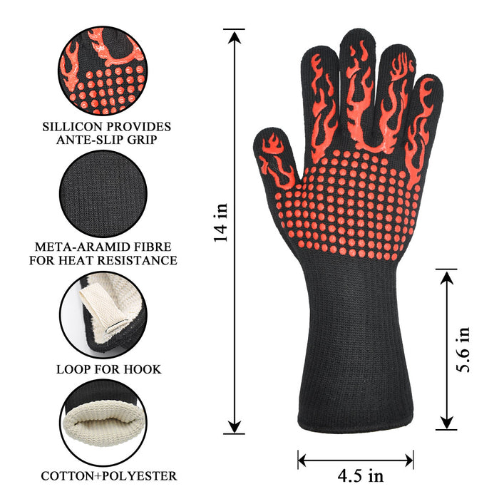 BBQ Gloves, Heat Resistant with fingers, 932℉ Extreme Heat Resistant with Anti-Slip Grip for Barbecue/Cooking/Baking/Welding