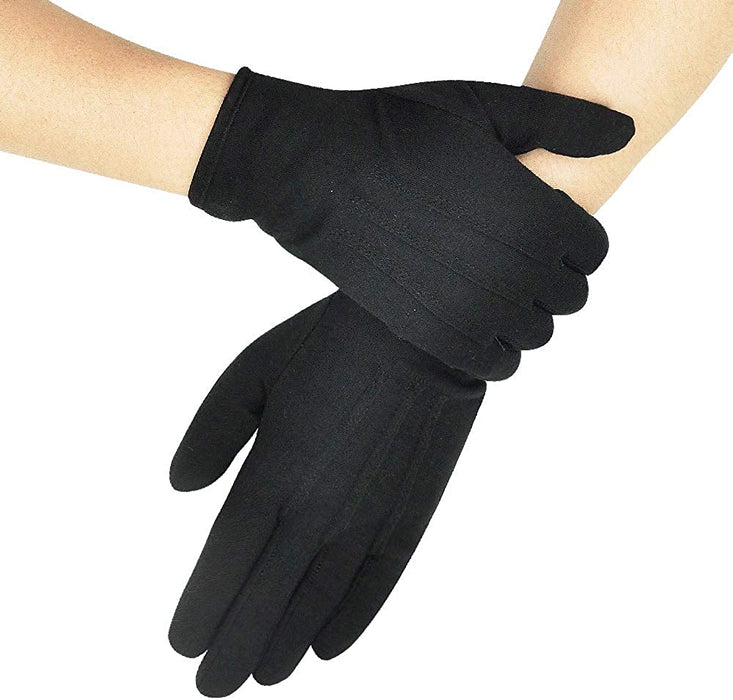 Parade Gloves Black Cotton Formal Tuxedo  Costume Honor Guard Gloves with Snap Cuff, Coin Jewelry Silver Inspection Gloves