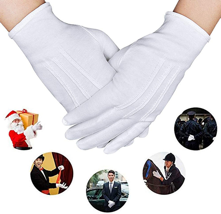 Parade Gloves White Cotton Formal Tuxedo  Costume Honor Guard Gloves with Snap Cuff, Coin Jewelry Silver Inspection Gloves