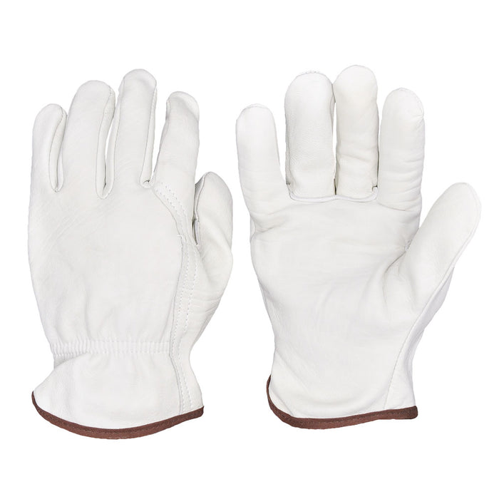 Durable Leather Work Gloves, Genuine Sheepskin with Elastic Wrist for Construction, Industrial & Personal Use