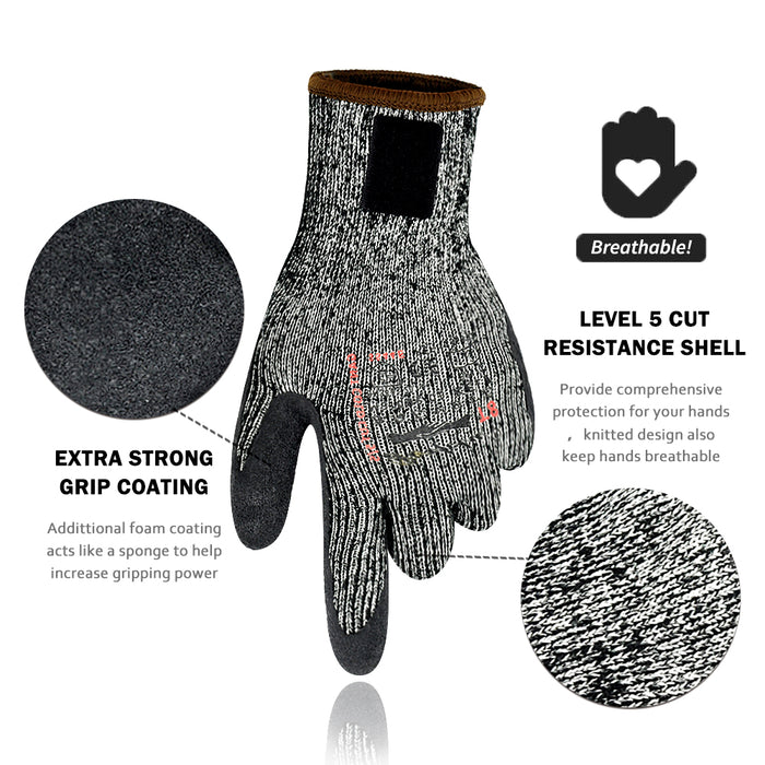 Winter Working Gloves, Cold Weather Working Gloves, Cut Resistance with Warm Fleece for Men and Women