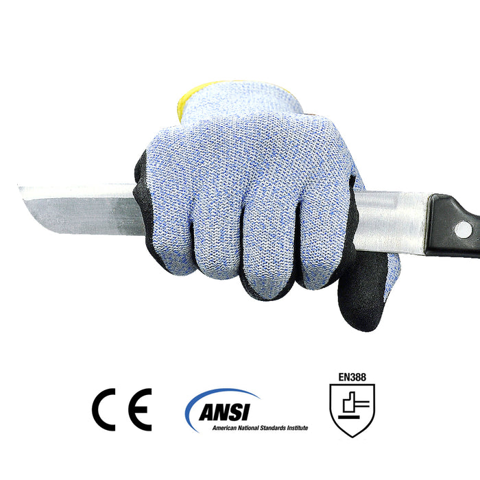Level 5 Cut Resistant Work Gloves with Power Grip for Wood Carving Carpentry, Glass Industry and other Constructions