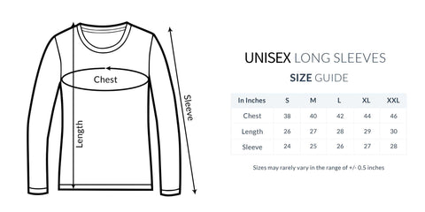 Unisex Full Sleeve T-Shirt Size Guide
