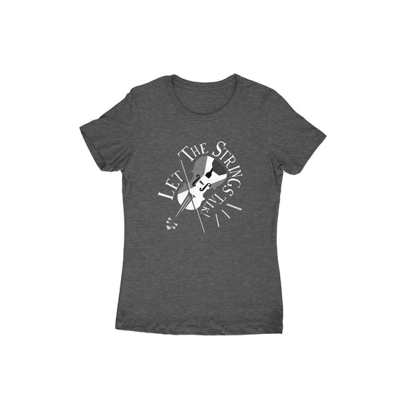 Let the Strings Talk black and white t-shirt - Women - Madras Merch Market