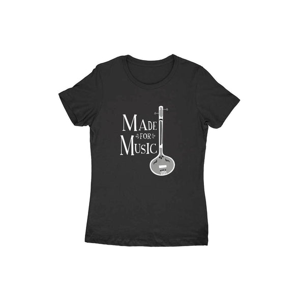 Made for Music Black and white T-shirt - Women - Madras Merch Market