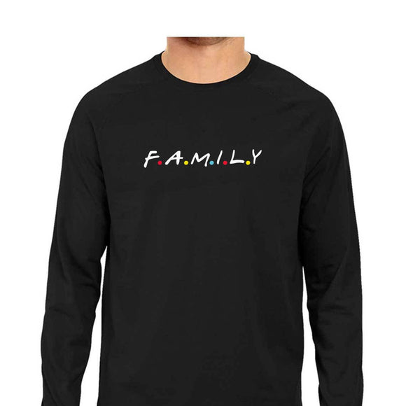 F.A.M.I.L.Y  Full Sleeve T-shirt (White Text) - Unisex - Madras Merch Market