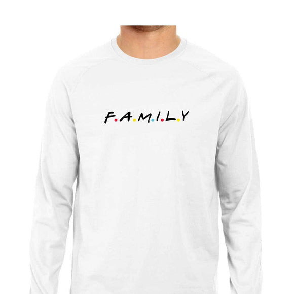 F.A.M.I.L.Y  Full Sleeve T-shirt (Black Text) - Unisex - Madras Merch Market