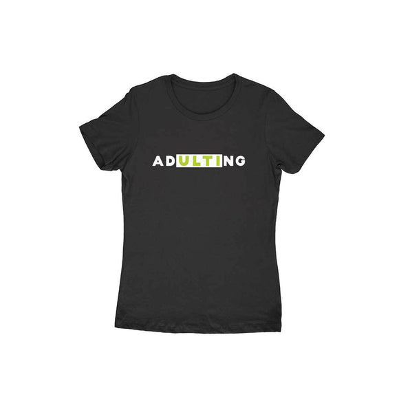 ADultiNG T-shirt (White Text) - Women - Madras Merch Market