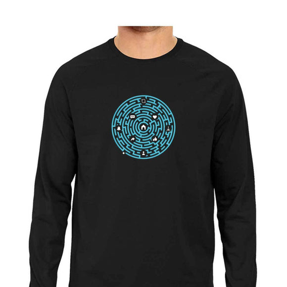 Millennial Maze Full Sleeve T-shirt (Blue Text) - Unisex - Madras Merch Market