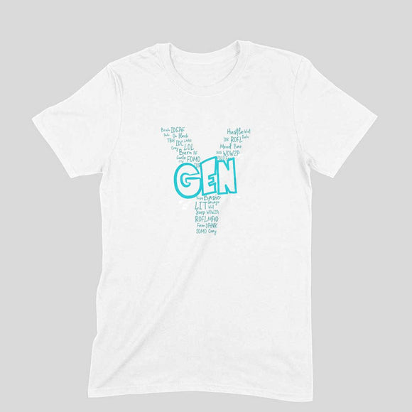 Gen Y Starter Pack T-shirt (Blue Text) - Unisex - Madras Merch Market