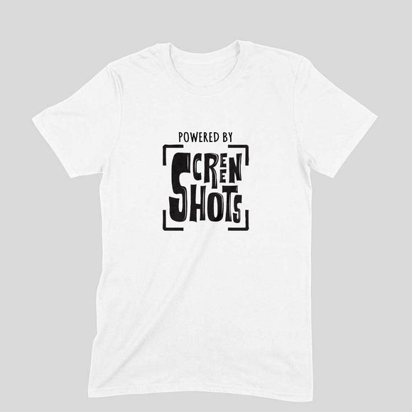 Powered By Screenshots T-shirt (Black Text) - Unisex - Madras Merch Market