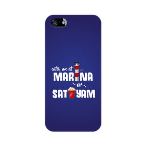 Marina and Sathyam Phone Cover -White Text (Apple, Samsung, Vivo and OnePlus) - Madras Merch Market