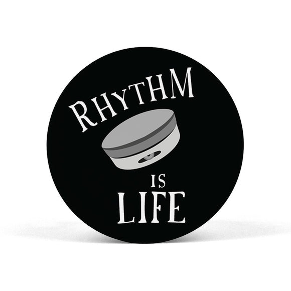 Rhythm is Life (Kanjira) Black and White Popgrip - Madras Merch Market