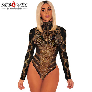 SEBOWEL 2020 Woman Sexy Bodysuits Autumn Spring Black Gold Rhinestone Bustier Female Mesh Turtleneck Long Sleeve Sheer Bodysuit