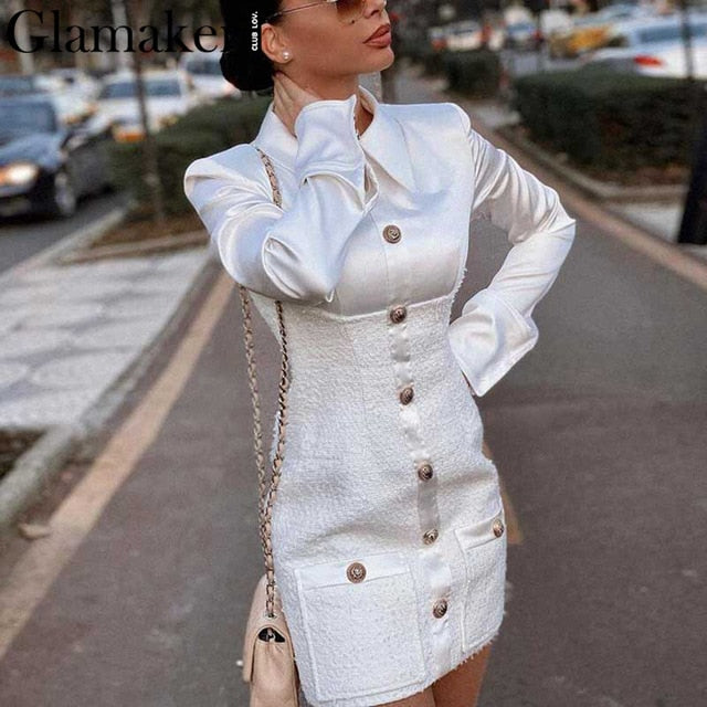 Glamaker Tweed plaid patchwork office dress Women buttons high waist bodycon dress Sexy elegant party short spring dress 2020