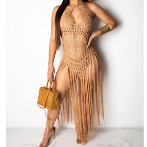 summer Crochet hollow out tassel Beach Cover up dress sexy women bikini swimsuit Cover ups bathing suit Cover up Robe Plage