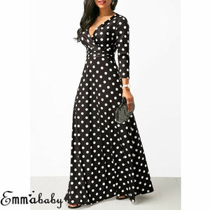 Autumn Women Polka Dot Long Sleeve Maxi Dress Boho Ladies Sexy V Neck Slim  Long Dress Fashion Ladies Dress
