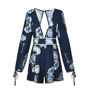 Sexy V Neck Backless Summer Playsuit Women Fashion Printed Casual Summer Short Romper One Piece Long Sleeve Shorts Jumpsuit