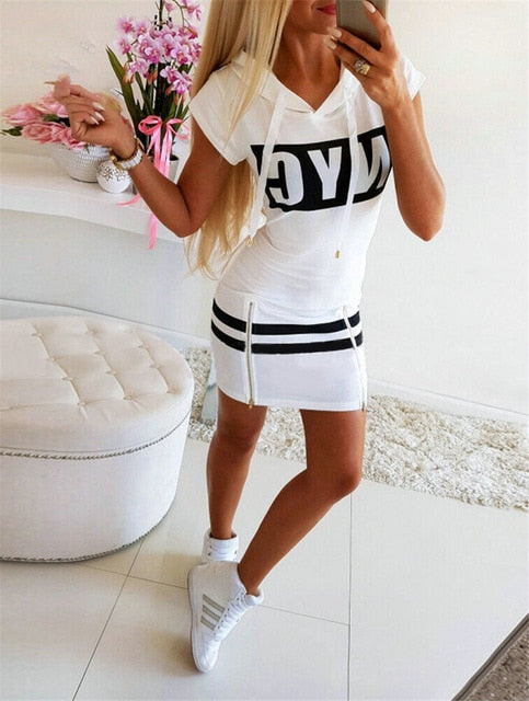 Women Casual Pencil Dress Hooded Zipper Decor O-Neck Long/Short Sleeve Letter Print High Waist Spring Summer Slim Hips Dress
