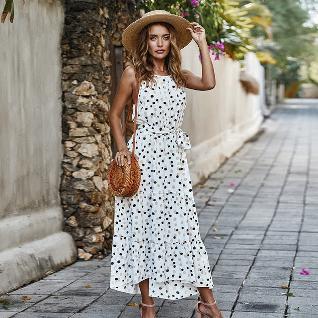 Long Dot Vacation Style Print Dress Women Lace Up High Waist O Neck Big Swing Dress New 2021 Fashion Summer Sleeveless Dress