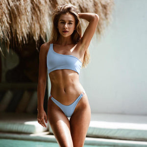 Women Sexy One Shoulder Swimwear Bikini Set Solid White Blue Swimsuit Bikinis Biquini Mujer Beach Bathing Suit Maillots de bain