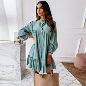 Women Vintage Ruffled Front Button A-line Dress Long Sleeve Stand Collar Solid Elegant Casual Mini Dress 2020 Autumn New Dress